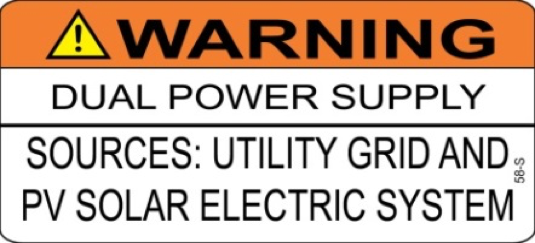 WARNING DUAL POWER SUPPLY SOURCES UTILITY GRID AND PV SYSTEM 58-S Label