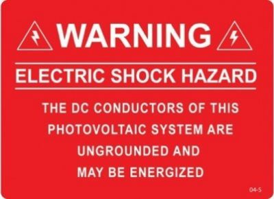 Solar Warning Label 04-S/P