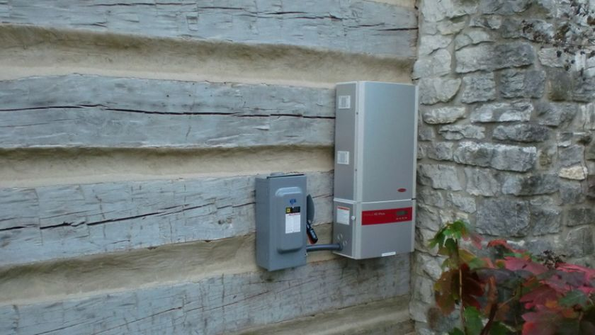 Fronius inverter mounted on the wall