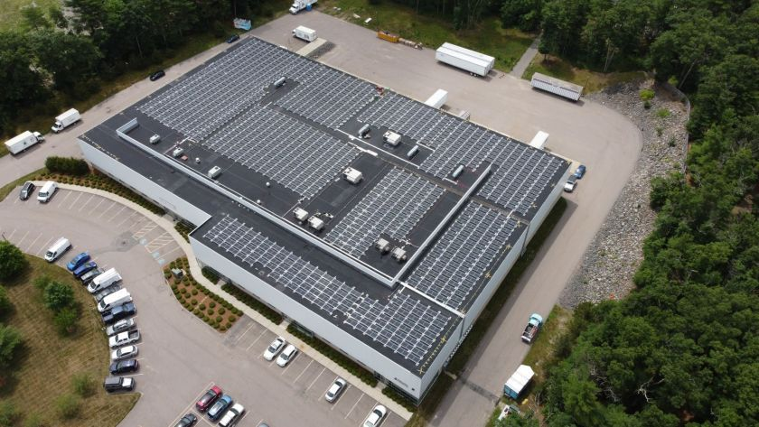 Overhead shot of solar installation