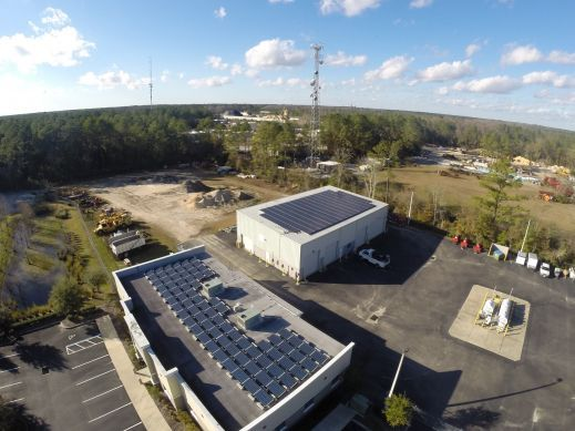 73.5 kW PV system over the office building and warehouse